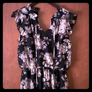 Ladies Romper black with tan & pink flowers